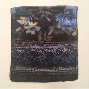 Dark Blue Women's Sheer Scarf - Floral Design